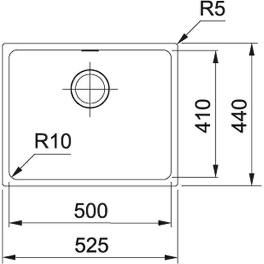 Zlewozmywak 1-komorowy Franke Sirius SID 110-50 rysunek techniczny