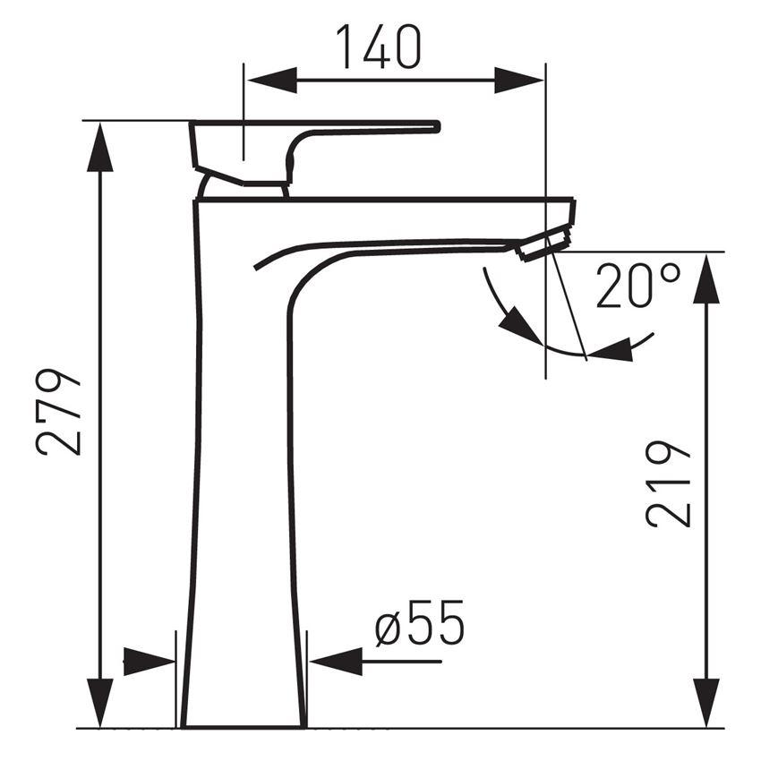 Bateria umywalkowa nablatowa Ferro Algeo Square rysunek techniczny