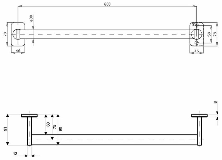 Poręcz prosta 60 cm Koło Lehnen Evolution rysunek techniczny