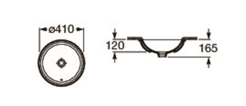 Umywalka podblatowa 41x41 cm Roca Foro rysunek techniczny