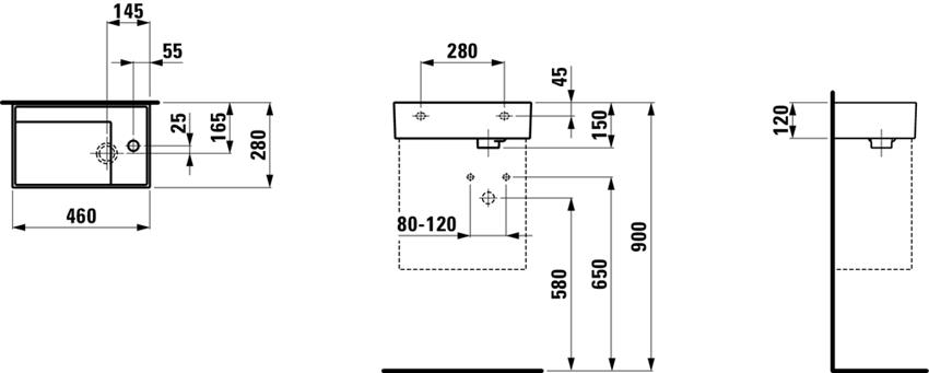 Mała umywalka ścienna/meblowa półka na baterię z prawej strony Laufen Kartell rysunek techniczny