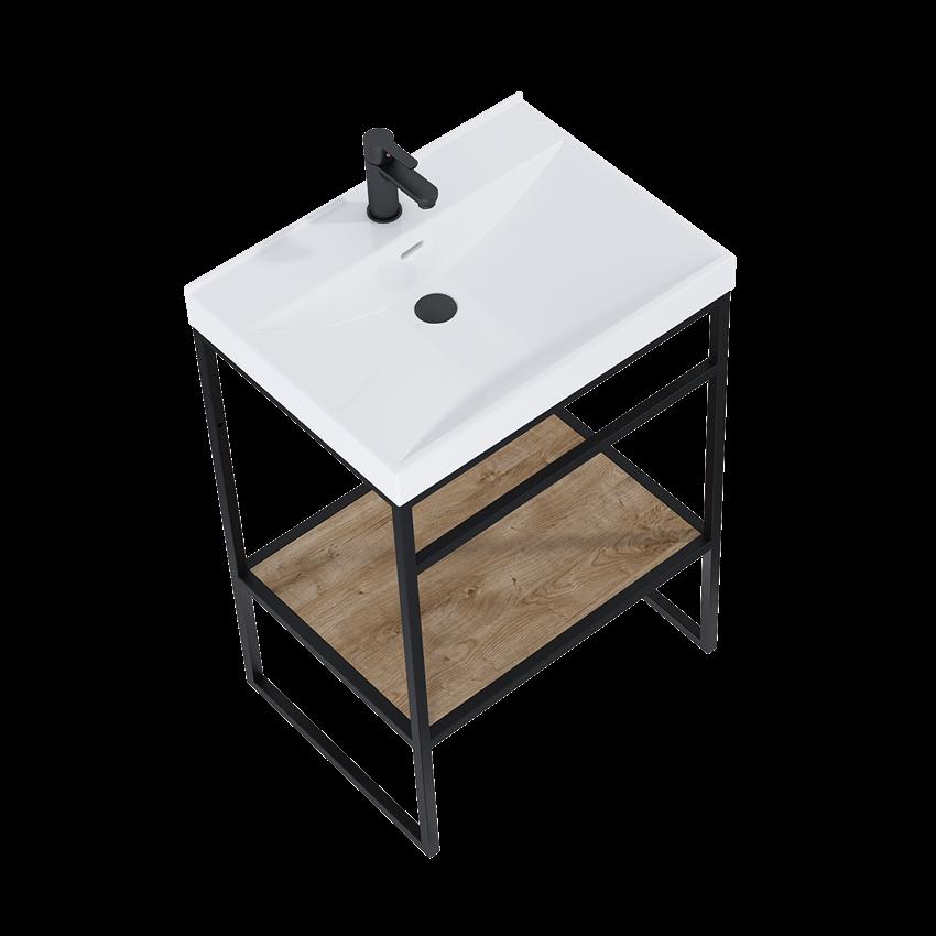 Szafka podumywalkowa z półką 60x81x45,5 cm  Półka Dąb Canela/Black Matt Elita Indus