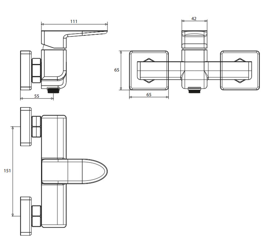 Bateria prysznicowa Omnires Siena rysunek techniczny