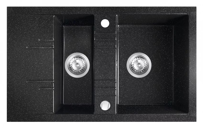 Zlewozmywak prostokątny 1,5-komorowy z ociekaczem grafit shine FDesign Carioca
