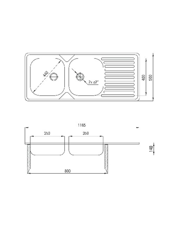 Zlewozmywak 2-komorowy z ociekaczem Deante Techno rysunek techniczny