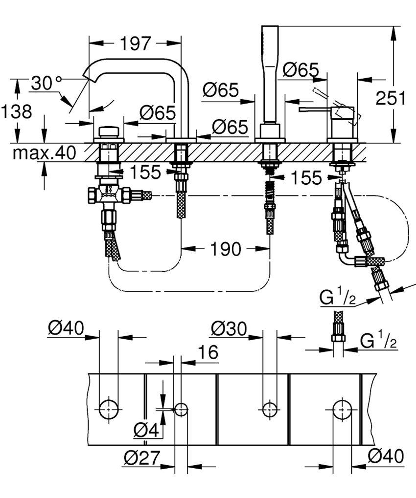 4-otworowa bateria wannowa Grohe Essence rysunek techniczny