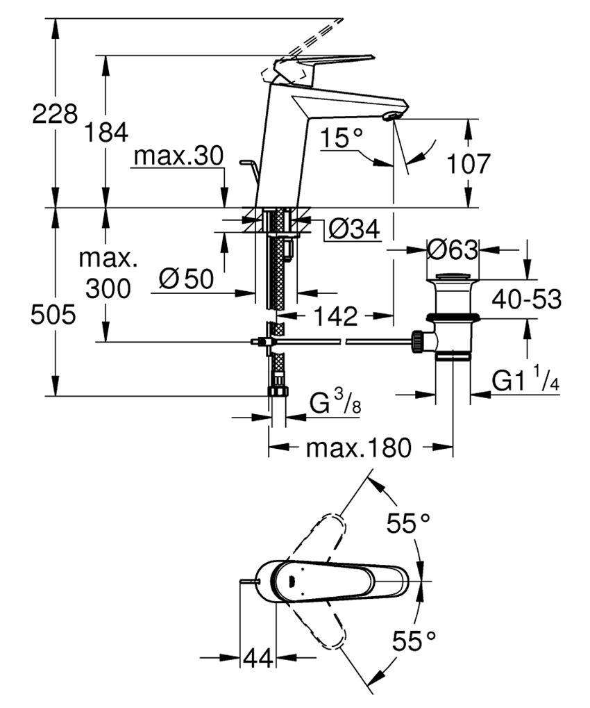 Jednouchwytowa bateria umywalkowa rozmiar M Grohe Eurodisc Cosmopolitan rysunek techniczny