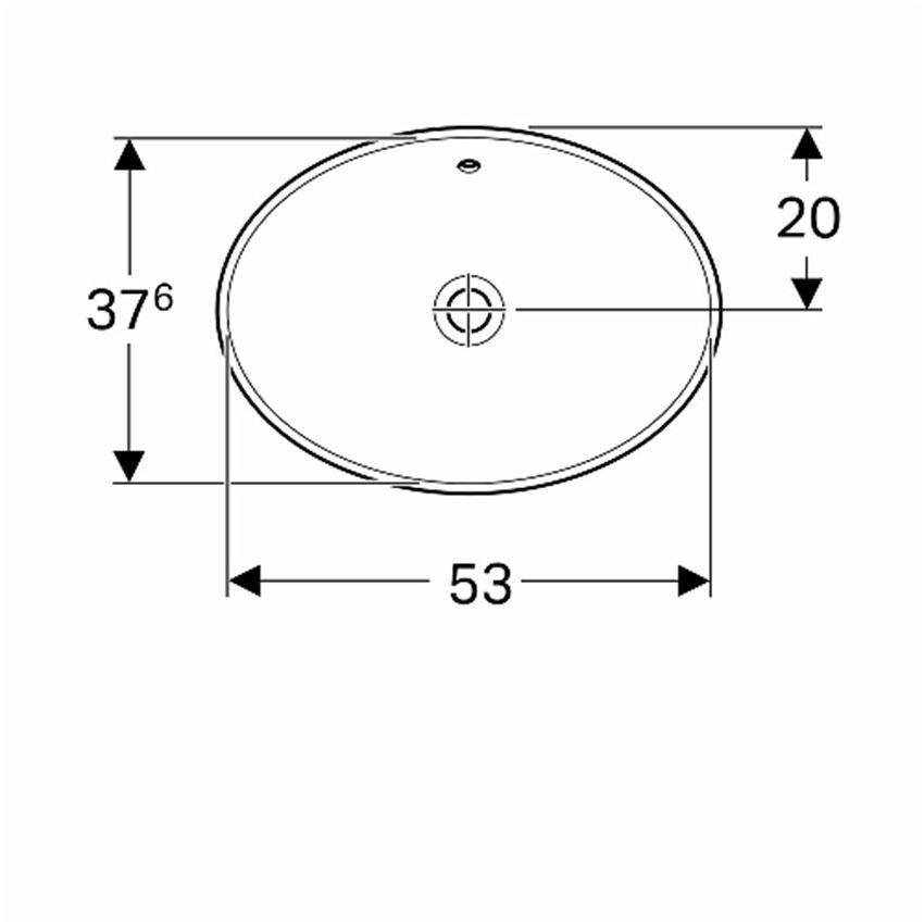 Umywalka owalna wpuszczana w blat z przelewem 55x39 cm Koło VariForm rysunek technicznyg