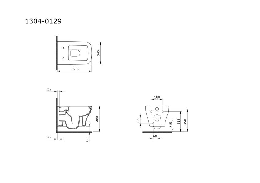 Miska wisząca WC Rimless 53,5x34 cm IÖ Sorento rysunek