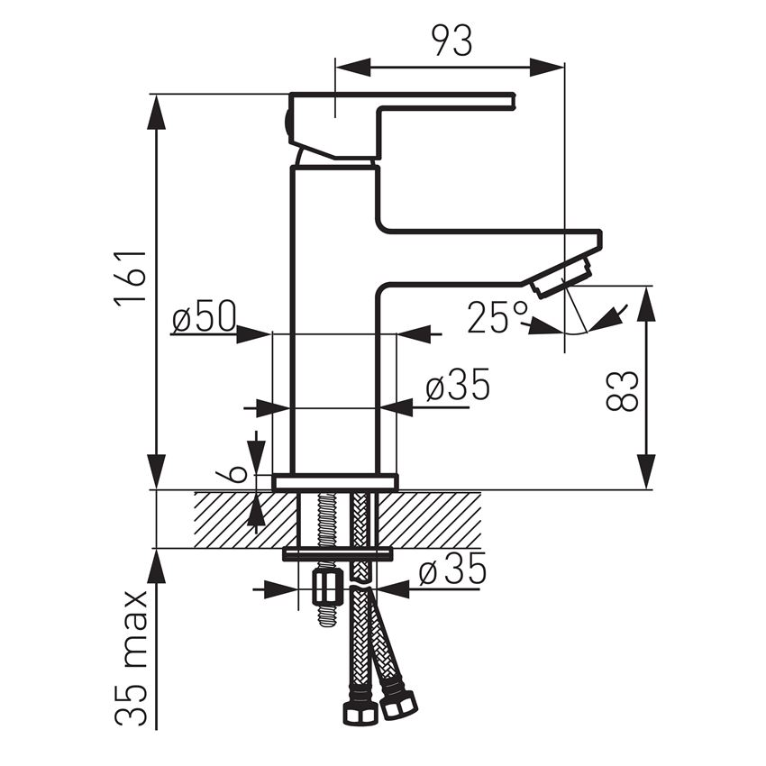 Bateria umywalkowa stojąca Ferro Zicco rysunek techniczny