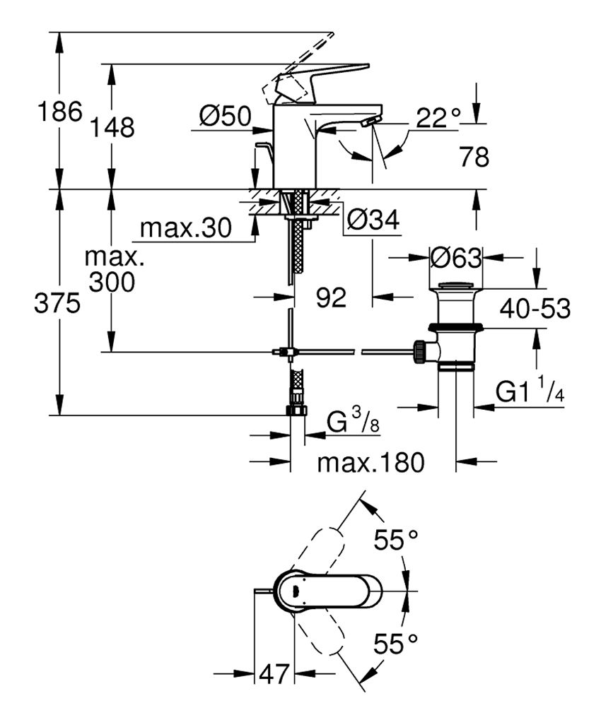 Bateria umywalkowa z korkiem 14,8 cm Grohe Eurosmart Cosmopolitan rysunek techniczny