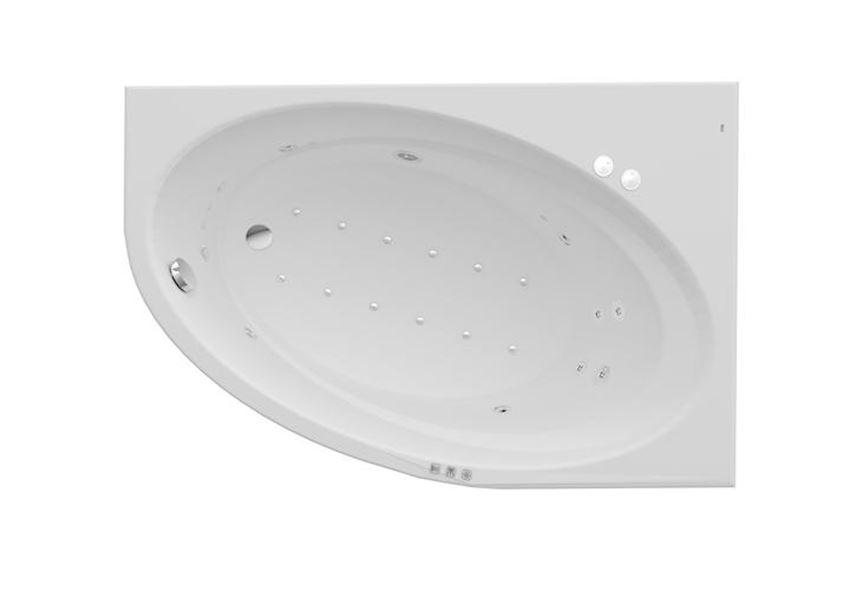 Wanna akrylowa z hydromasażem asymetryczna narożna Smart WaterAir Plus 150x100x44 cm Roca Orbita