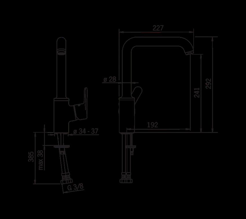 Bateria kuchenna Oras Aquita rysunek techniczny