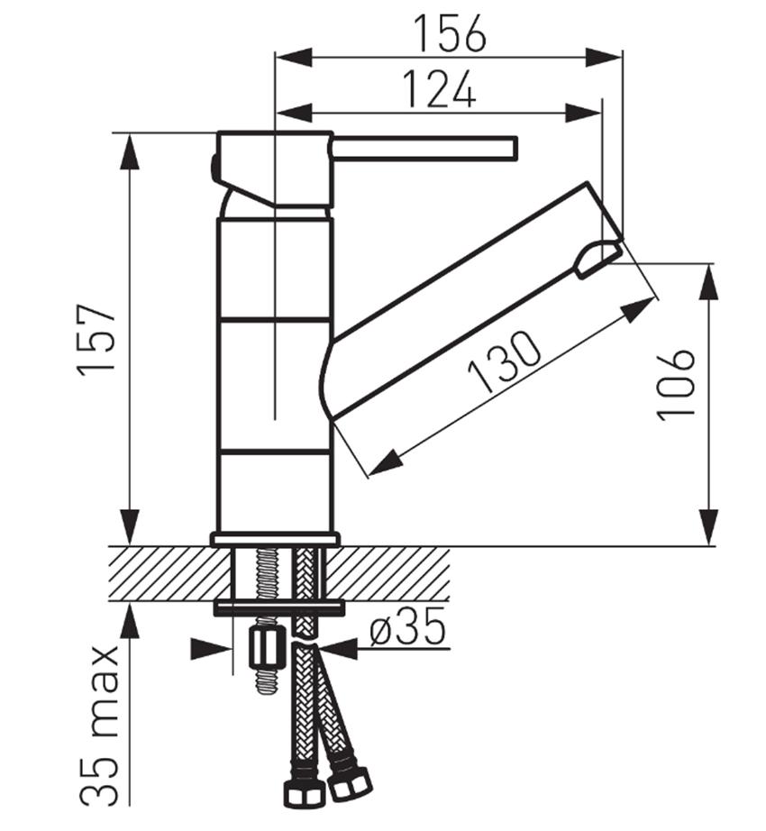 Bateria umywalkowa stojąca z korkiem click-clack i ruchomą wylewką FDesign Flusso rysunek