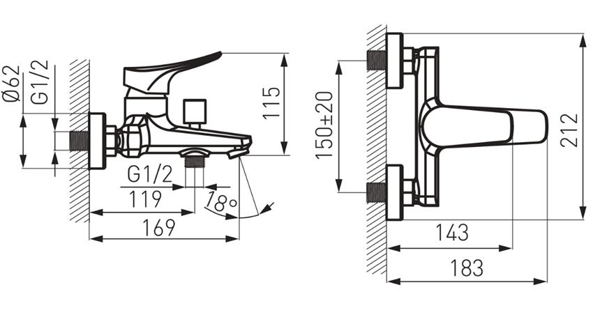 Bateria wannowa z przełącznikiem natrysku FDesign Brezza rysunek