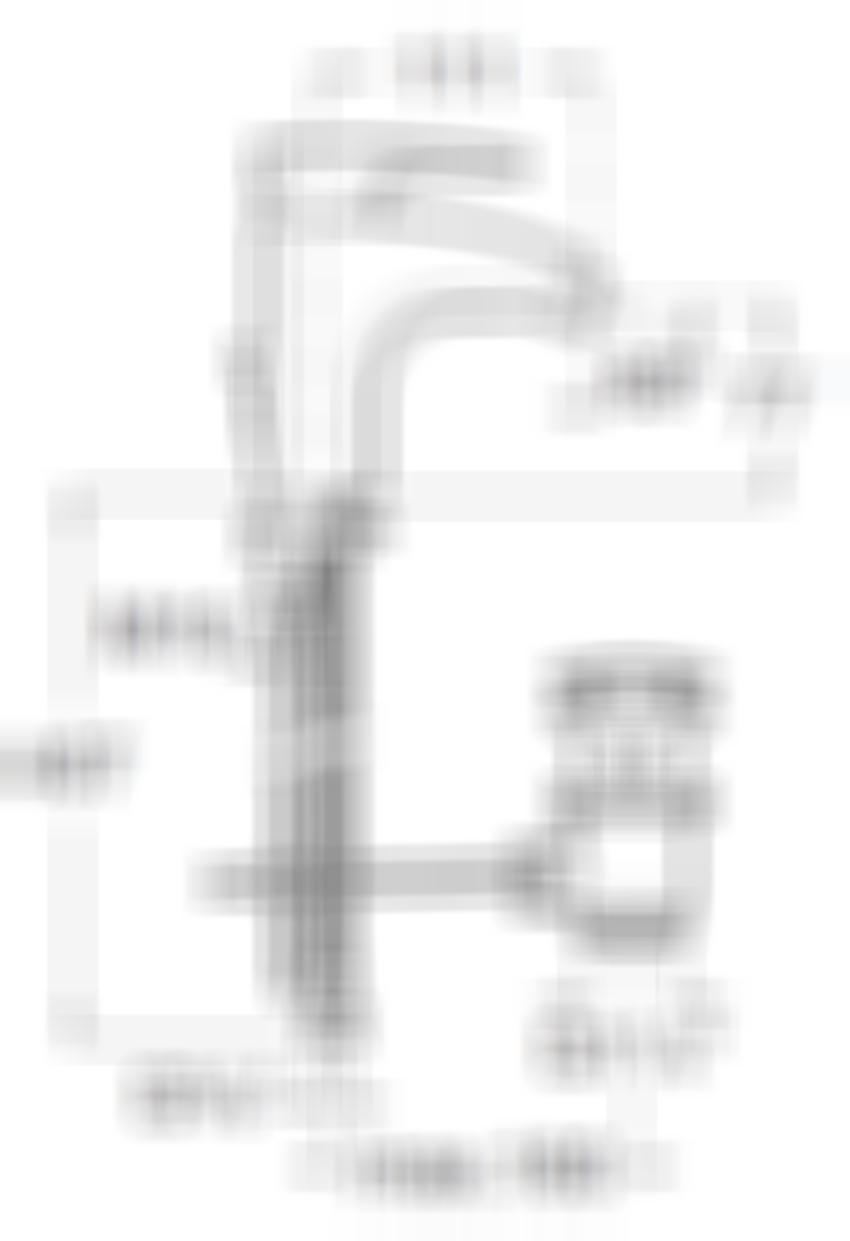 Rysunek techniczny baterii bidetowej z korkiem automatycznym Roca Thesis