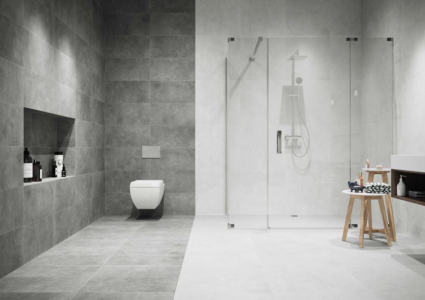 Minimalistyczna biało szara łazienka w kolekcji płytek Apenino