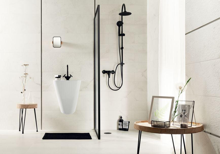 Biała łazienka w kolekcji Tubądzin Organic matt