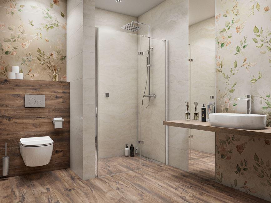Łazienka w drewnie z florystycznym motywem
