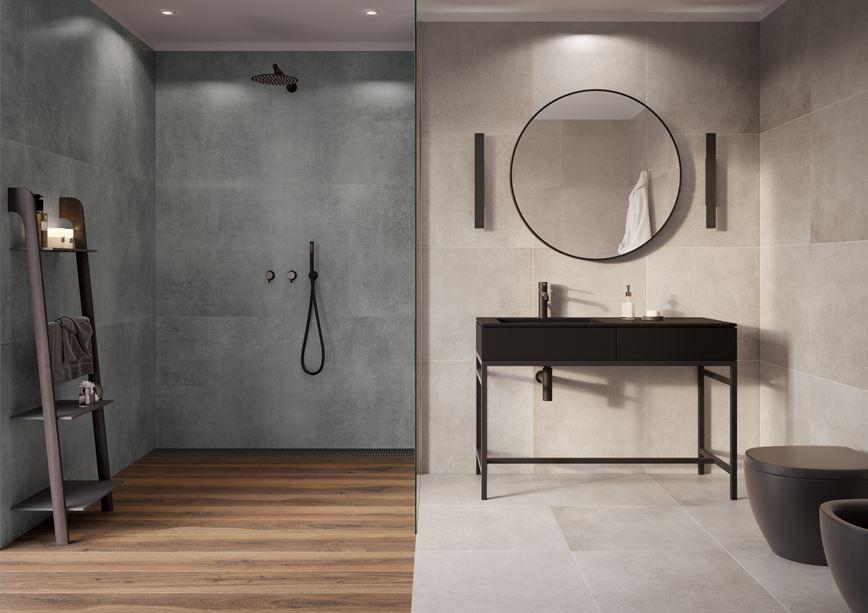 Doborowe towarzystwo drewna i betonu w aranżacji łazienki