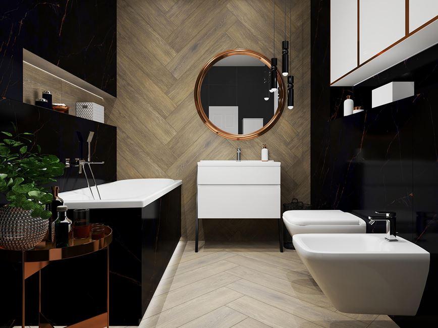 Ciemna łazienka w aranżacji z drewnopodobnymi płytkami