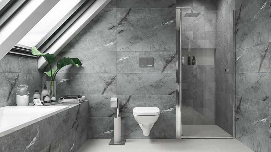 Szara łazienka w kamiennej płytce