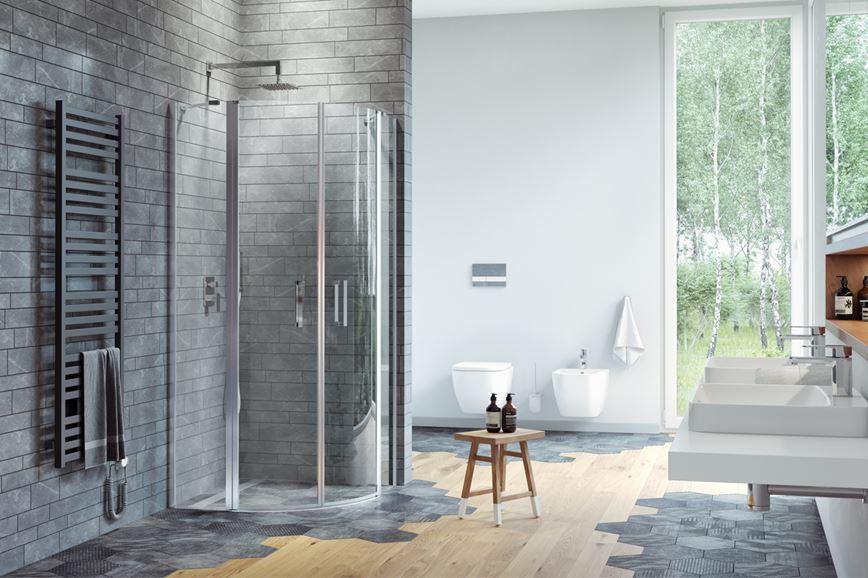 Aranżacja łazienki z kabiną Excellent z serii Mazo