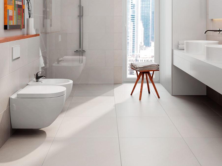 Minimalistyczna łazienka w kolekcji Cerrad Campina