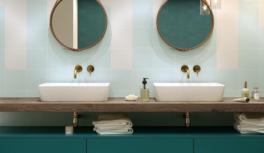 Pastelowa przestrzeń umywalkowa Opoczno Monoblock