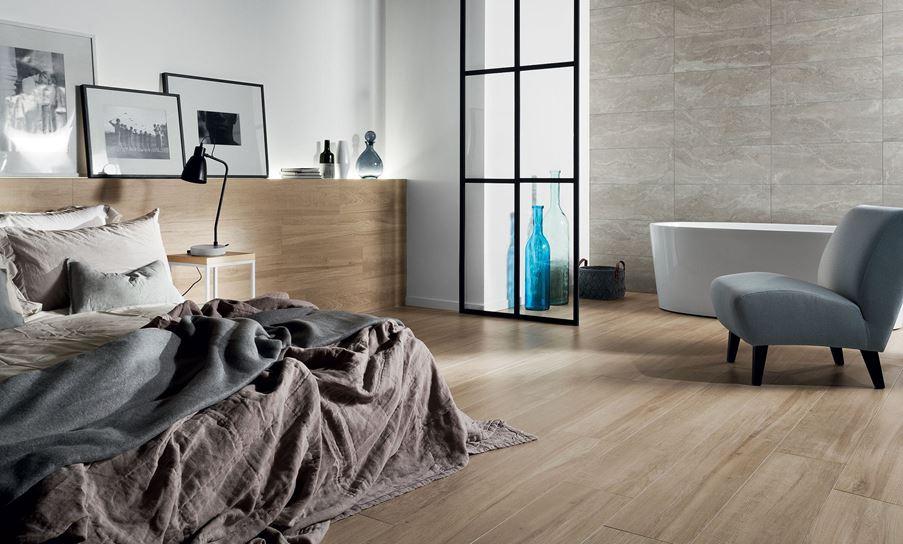Łazienka z sypialnią Tubądzin Wood