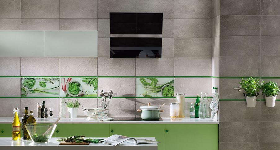 Szara kuchnia z domieszką zielonych akcentów