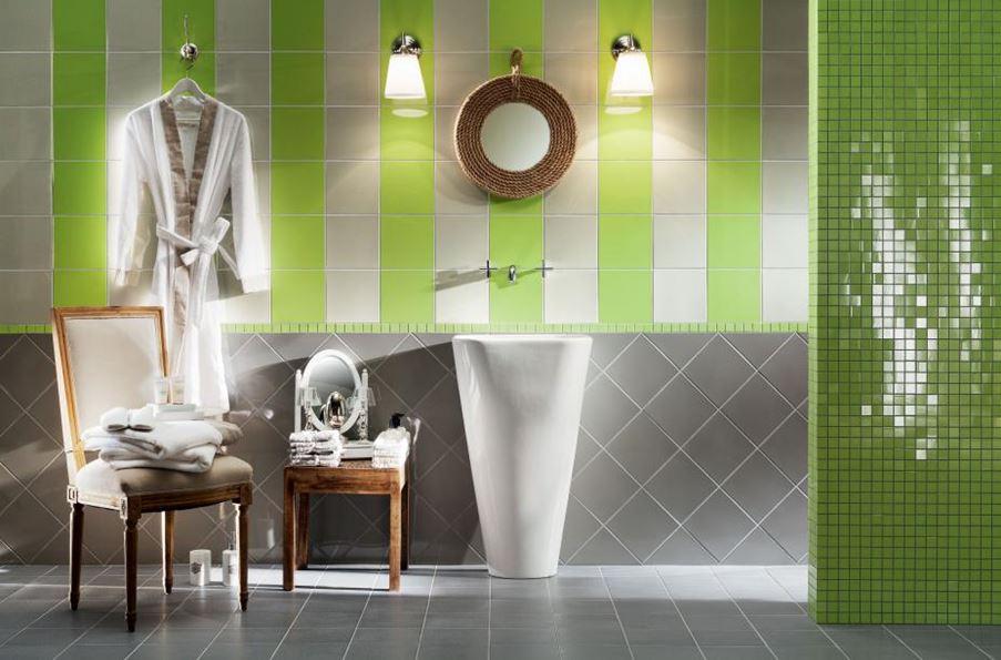 Szaro-zielona łazienka Tubądzin Pastele