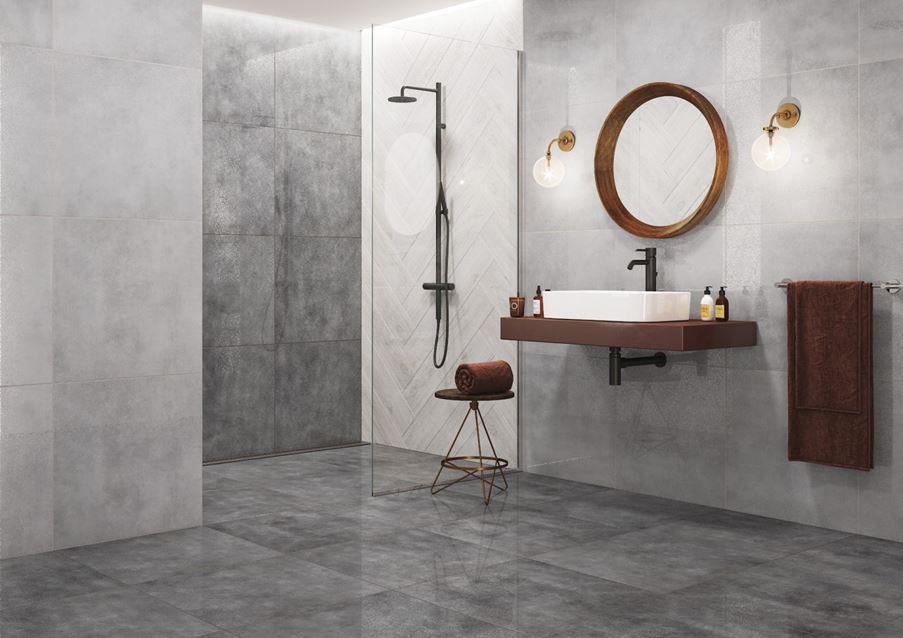 Łazienka z betonowymi płytami Cerrad Batista