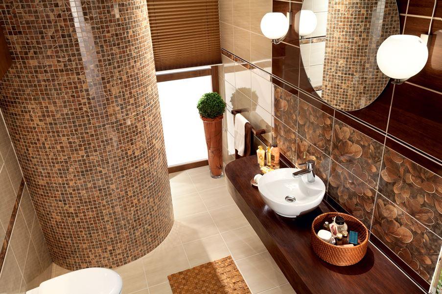 Brązowa łazienka z dekoracyjnymi ścianami Domino Berberis