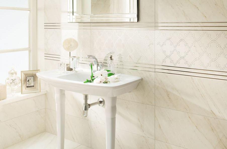 Ornamentowe dekory w łazience Tubądzin Larda