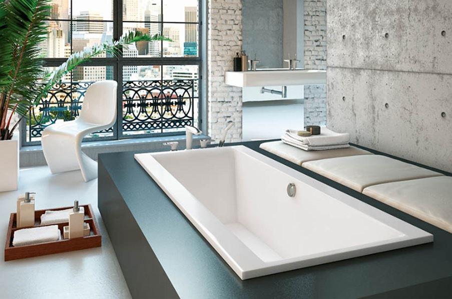 Aranżacja nowoczesnej łazienki z wanną prostokątną