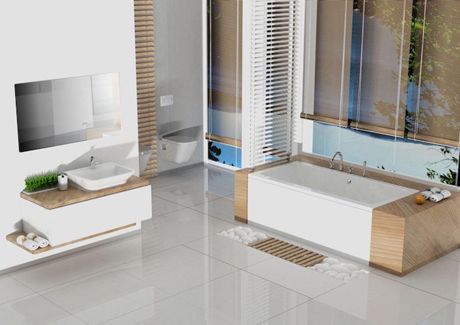 Biała łazienka z drewnianymi elementami