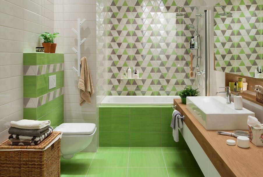 Biało-zielona łazienka z geometrycznymi dekorami