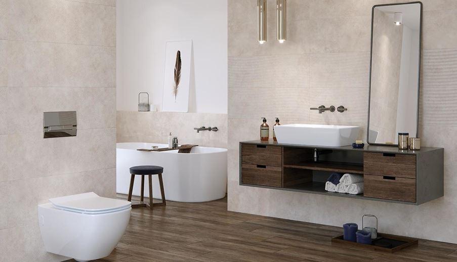 Nowoczesna łazienka w beżach i brązach