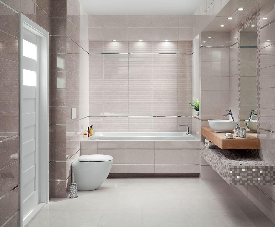 Łazienka wykończona subtelnymi szarościami Domino Braid