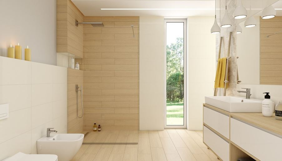 Naturalna łazienka z drewnianymi płaszczyznami Opoczno Elissa