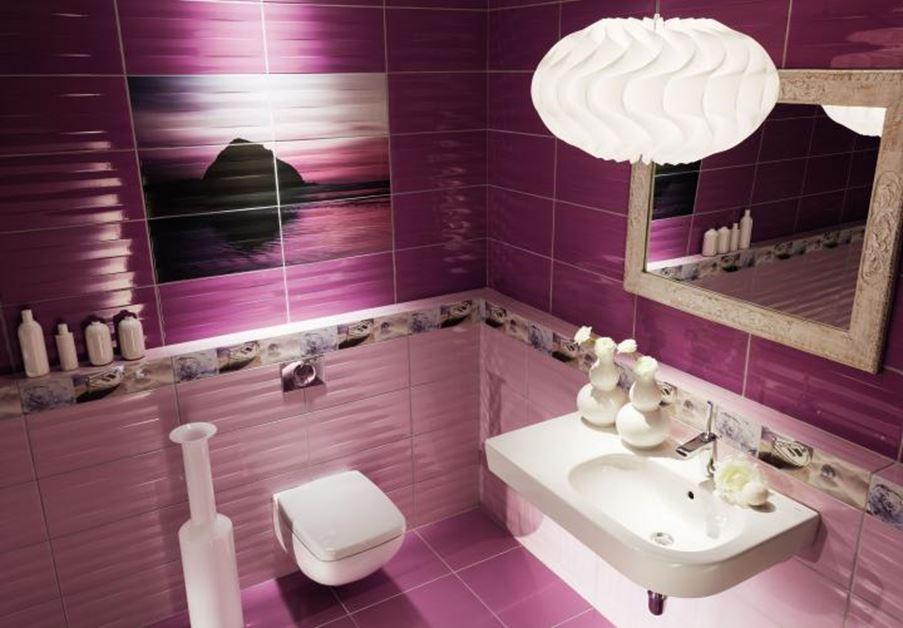 Róże i fiolety w aranżacji łazienki Tubądzin Maxima