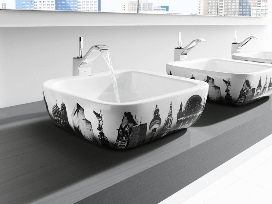 Umywalki z motywami miasta Roca Urban