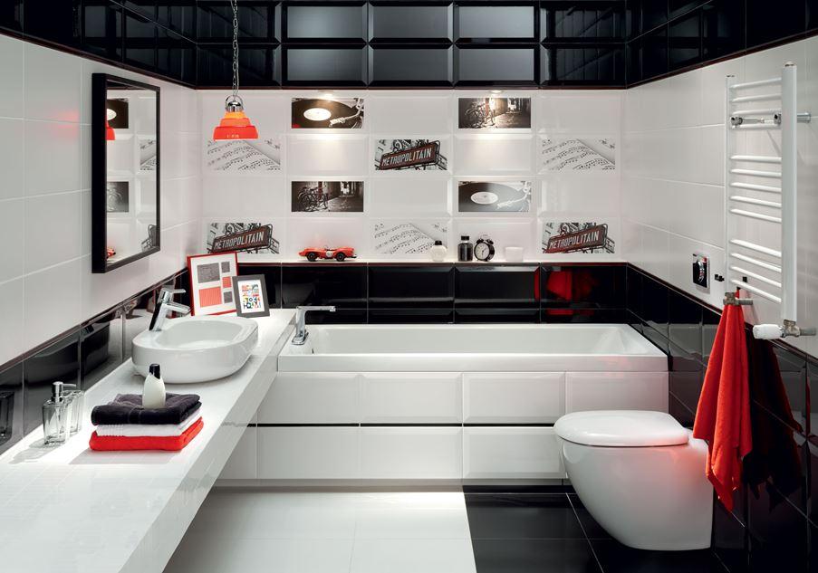 Czarno-biała łazienka z dekorami Domino Joy