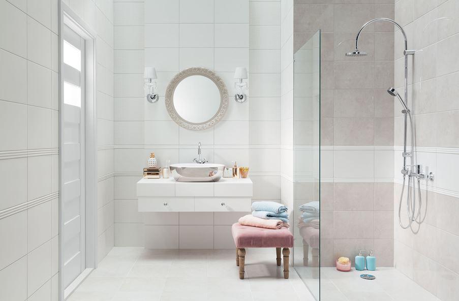 Delikatna łazienka w bieli i szarościach Domino Puntini