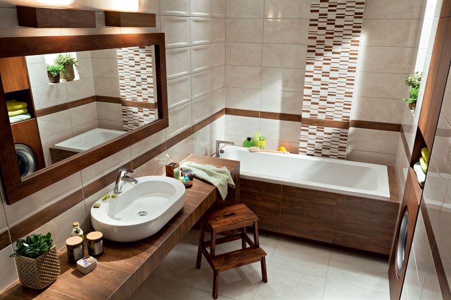 Kremowa łazienka z brązowymi płytkami Domino Enna