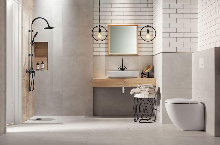 Industrialna łazienka z betonowymi płytami Domino Entina