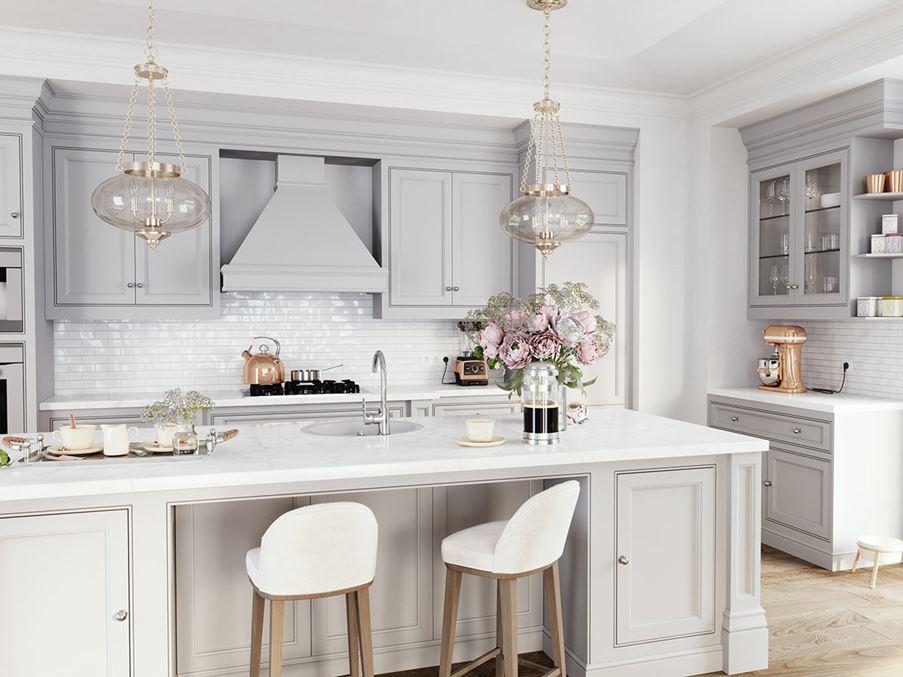Aranżacja jasnej kuchni w stylu klasycznym