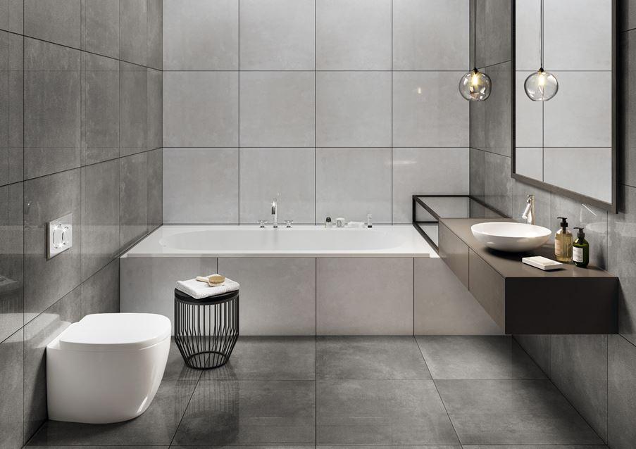 Łazienka z płytkami z rysunkiem betonu