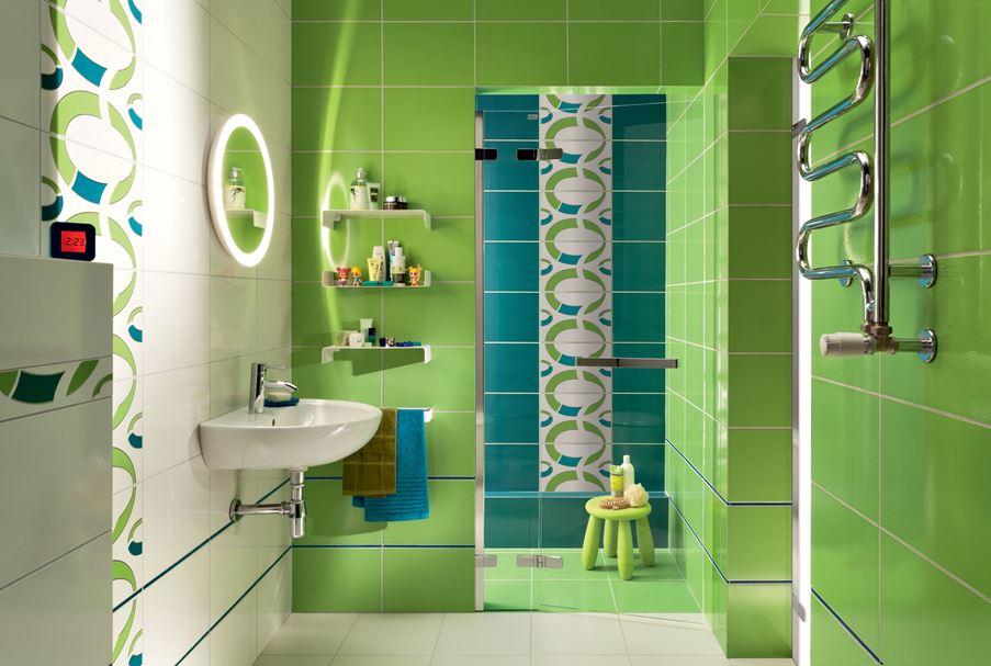 Niebiesko-zielona łazienka Domino Indigo